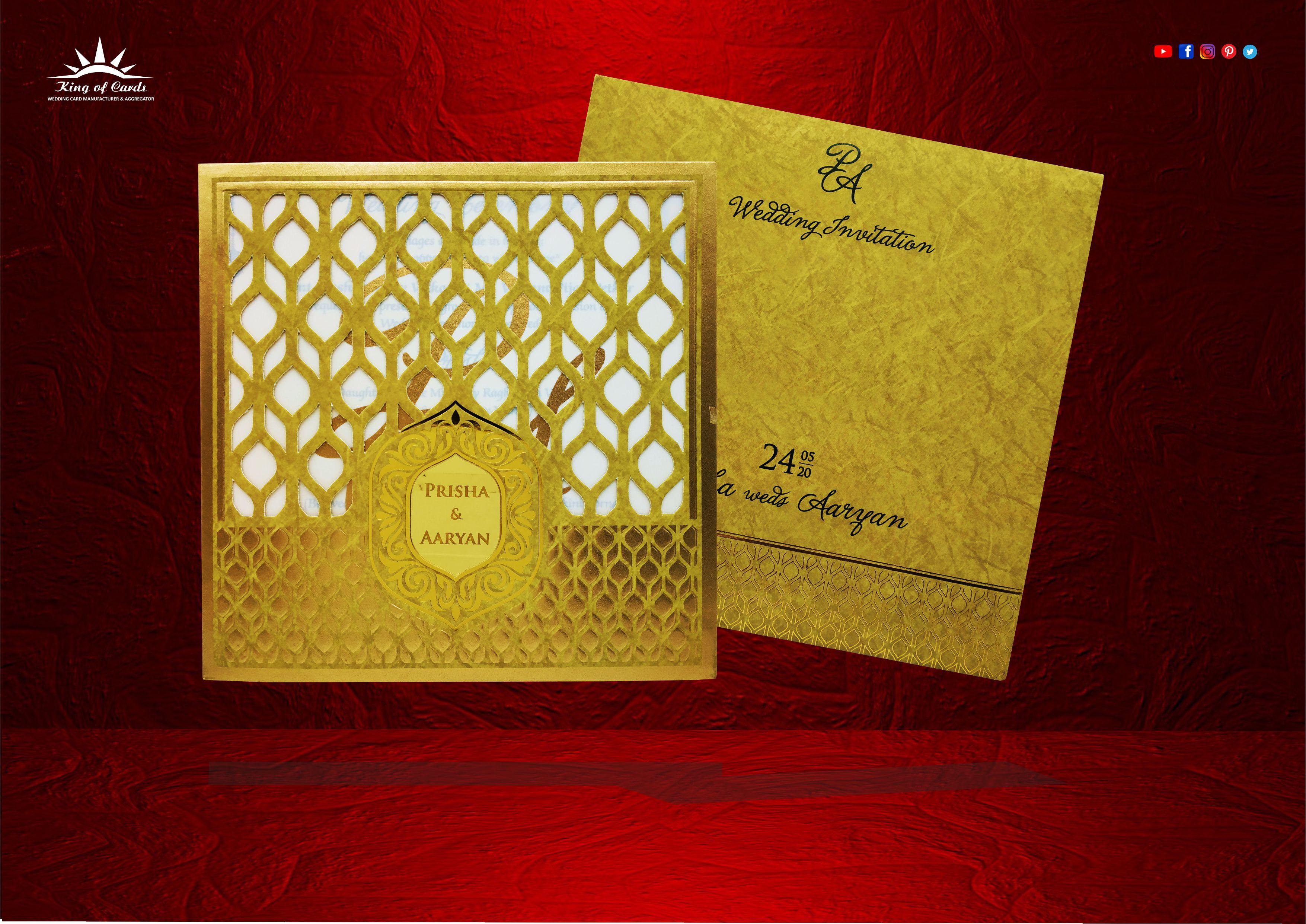 Book beautiful lining design yellow color wedding_card
