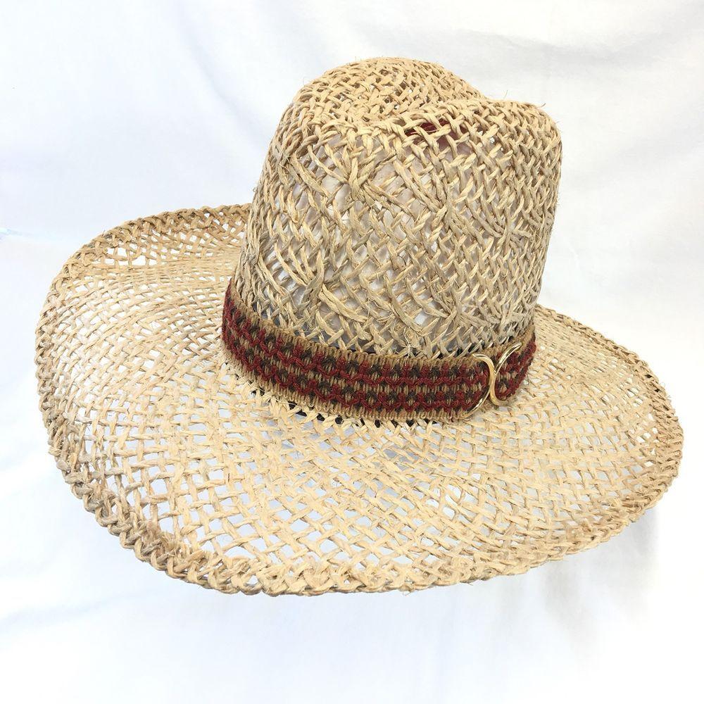 New West by Bailey U-Rollit Open Weave Jute Straw Western Cowboy Hat Mens 7 86416430885