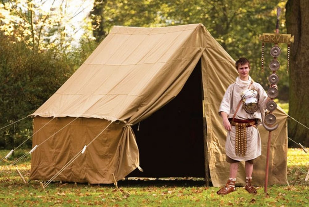 roman camp tent without peopole