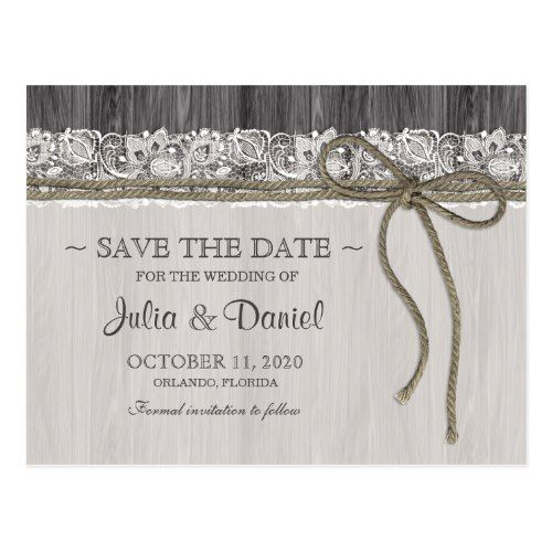 Rustic Wedding Save the Date Rustic Wedding Save The Date Postcard With Lace