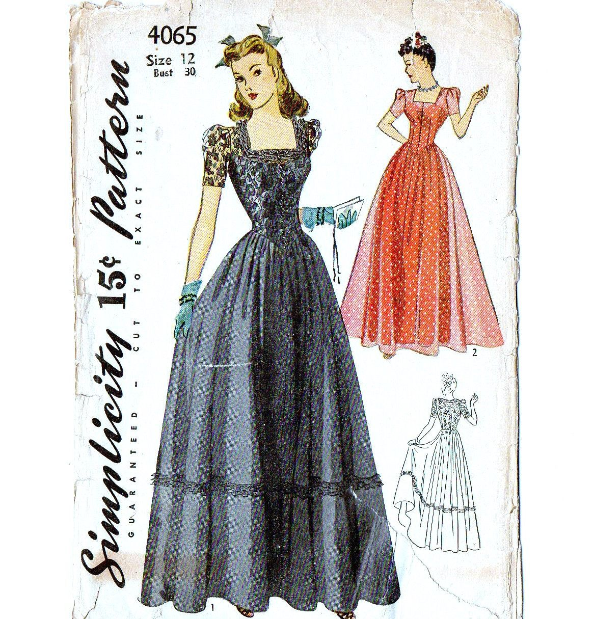 Simplicity formal gown s vintage sewing pattern uncut size