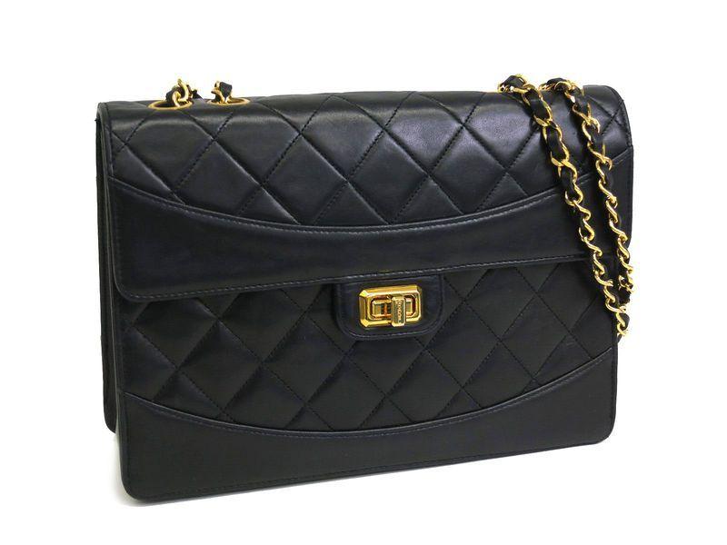 7ec53796c5ea Chanel 2.55 Matrasse Chain Shoulder Bag Black Black(BF059918 ...