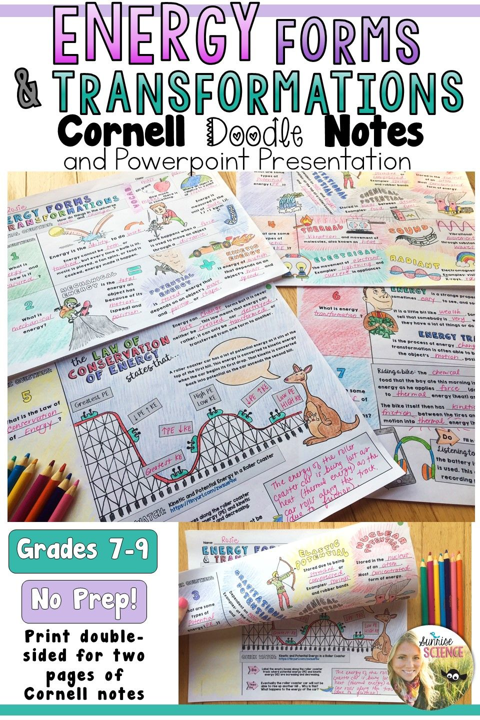 Energy Forms And Transformations Cornell Doodle Notes Energy Forms Doodle Notes Science Teaching Resources