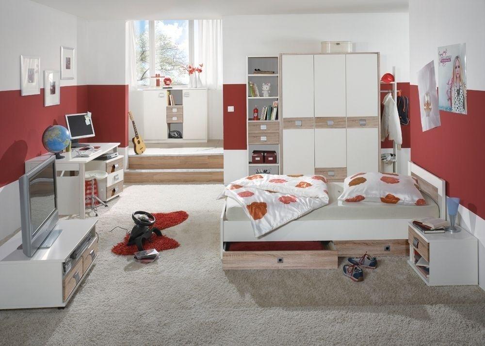 Jugendzimmer komplett Jette Kinderzimmer Weiß  Eiche Sägerau 4962
