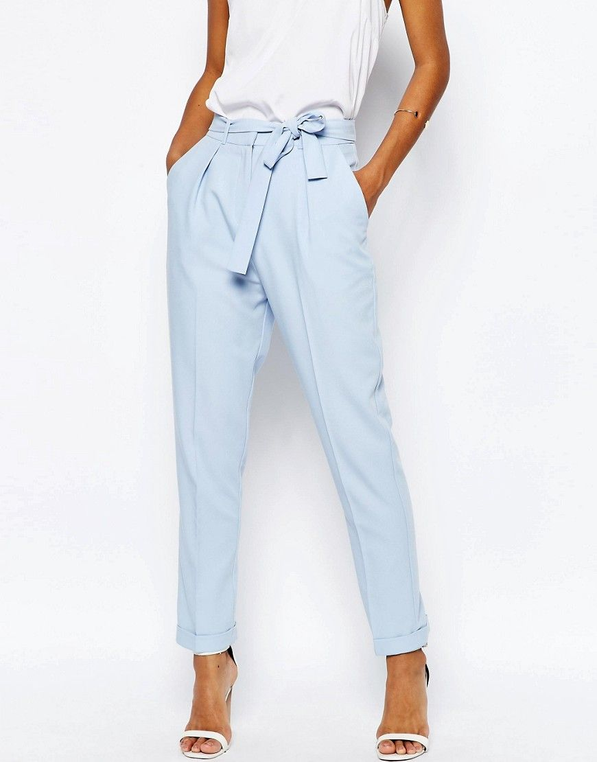 Pantalones de pinzas tejidos con lazada OBI de | Fashion