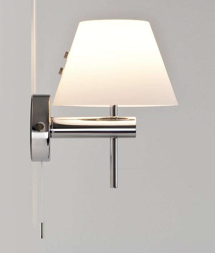 Bathroom Safe Wall Light with Glass Coolie Shade and Pullcord ...
