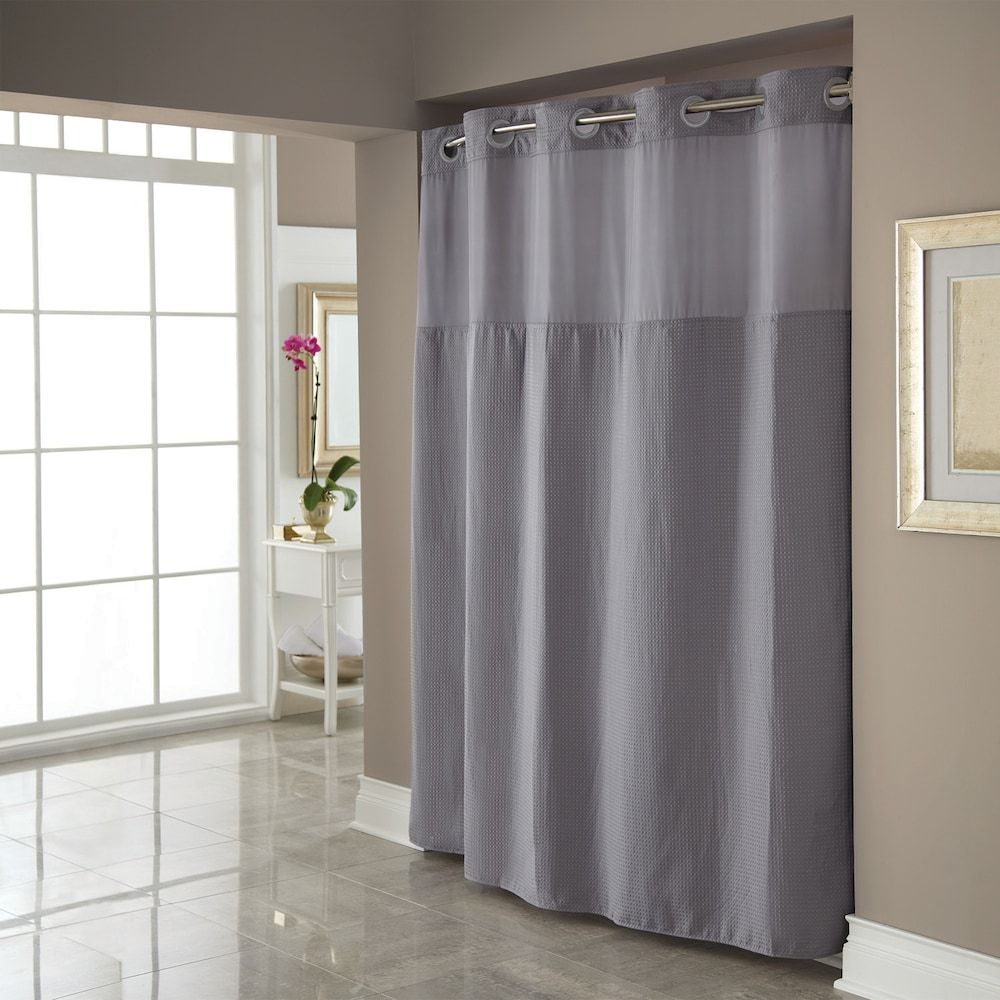 Dobby Pique Mystery Hookless Fabric Shower Curtain Grey Fabric