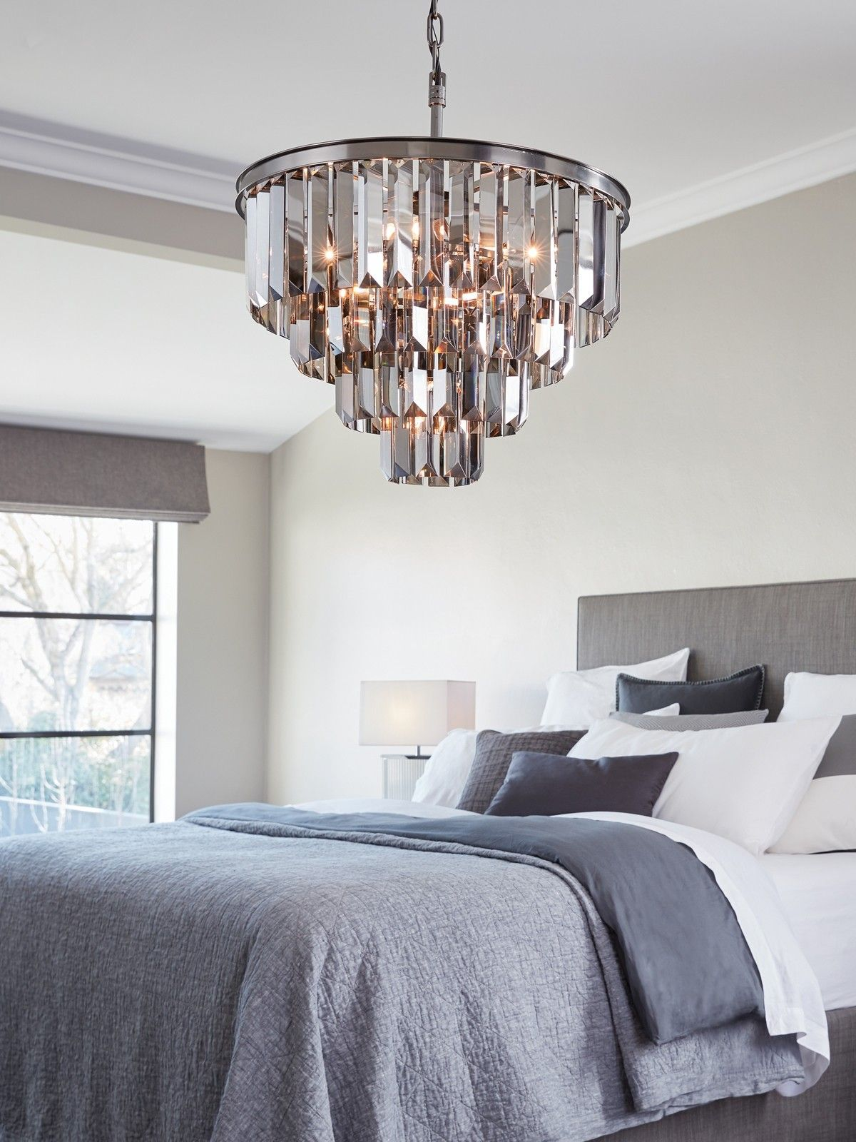 Waldorf 6 Light Chandelier In Smoke Nickel With Gl