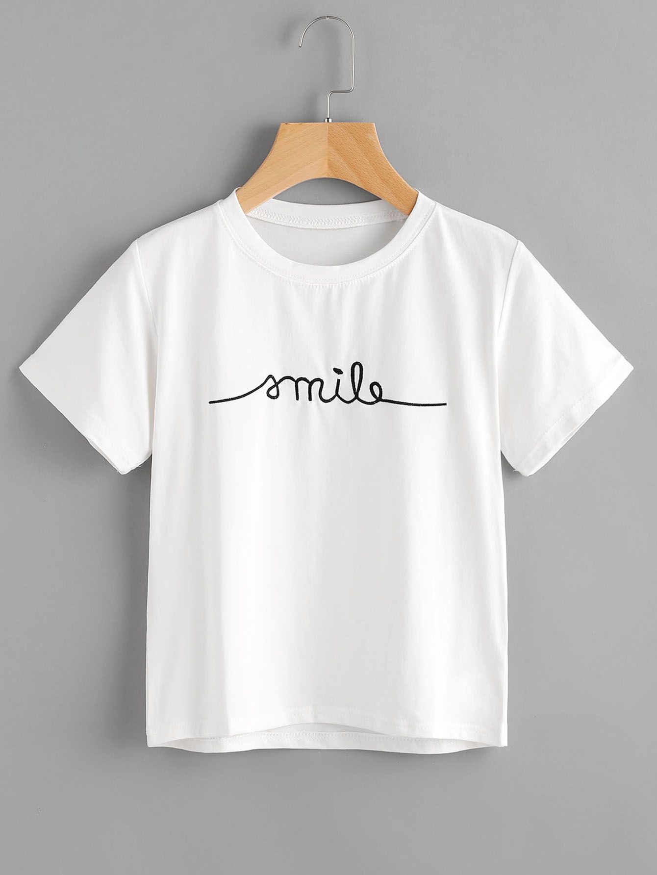 70220e70f Shop Letter Embroidered Tee online. SheIn offers Letter Embroidered Tee &  more to fit your fashionable needs.