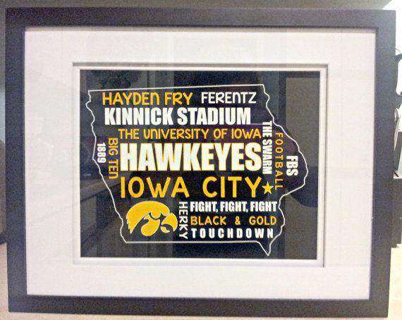 Framed Iowa Hawkeyes Typography Print by SassySouthernDarling
