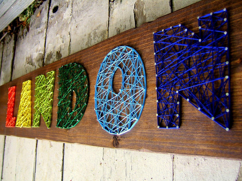 How To Do String Art 6 Letter Modern String Art Wooden Name Tablet Made To Order