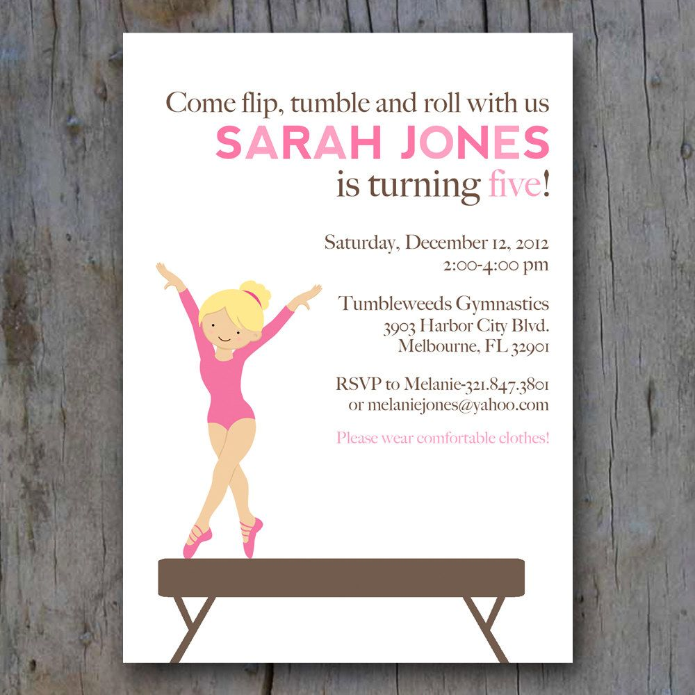Printable Gymnastics Party Invite. $12.00, via Etsy. | Gymnastics ...