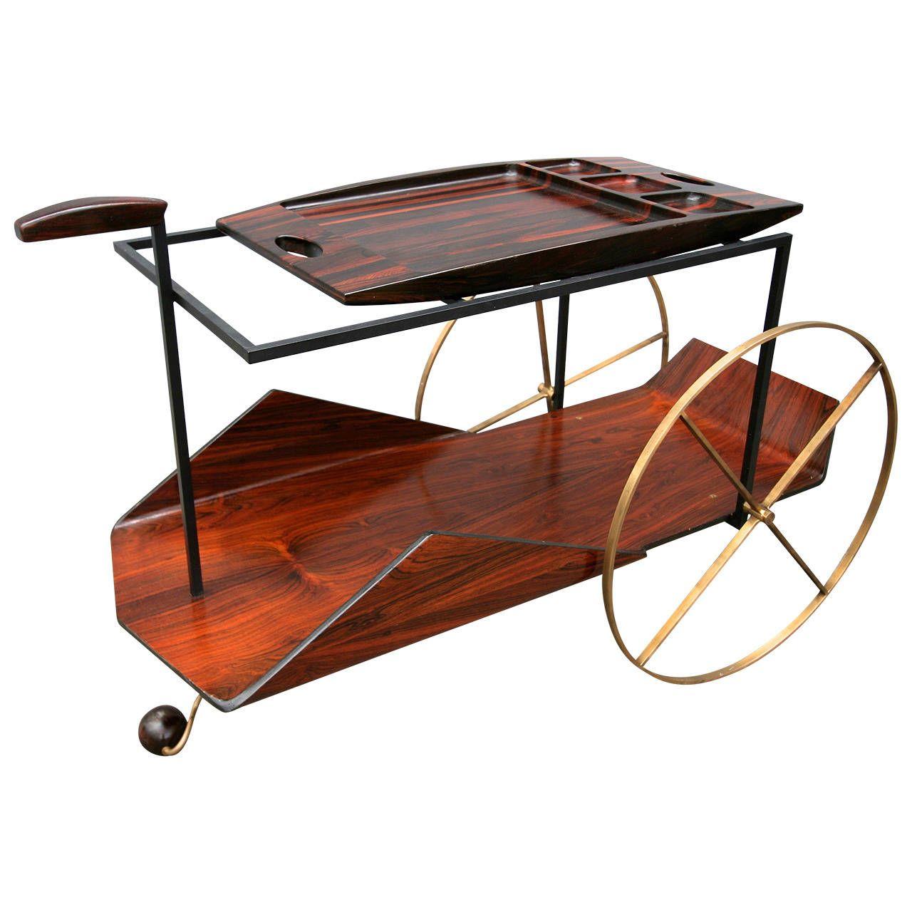 carrinho de cha brazilian tea bar cart by jorge zalszupin from a unique collection