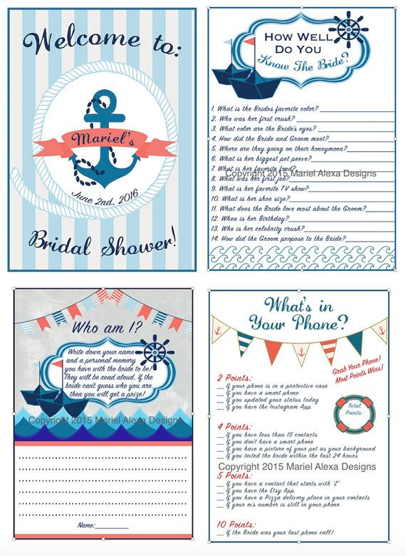 nautical theme bridal shower game pack personalized custom printable diy pdf memory