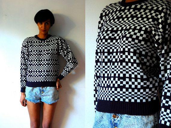 Vtg Navy & White Checkered Print Knitted Retro by LuluTresors, $29.99