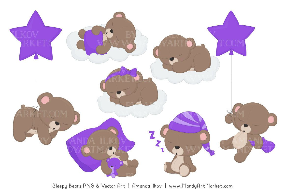 Beary Cute Sleepy Bears Clipart Papers Set In Purple By Amanda Ilkov Thehungryjpeg Com Bears Ad Clipa In 2020 Bear Clipart Bear Illustration Teddy Bear Clipart