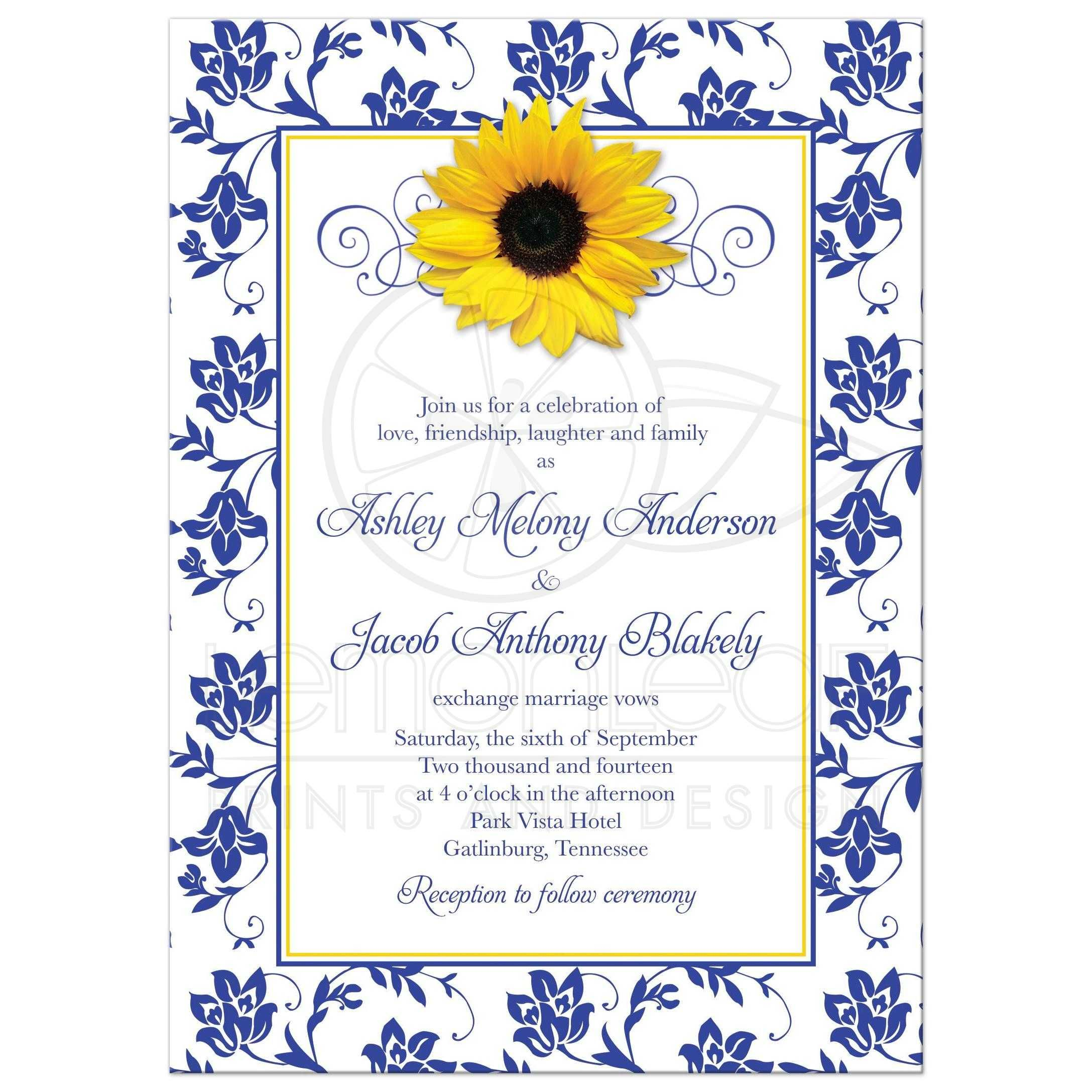 Photo Wedding Invitation   Sunflower Damask Royal Blue Yellow ...
