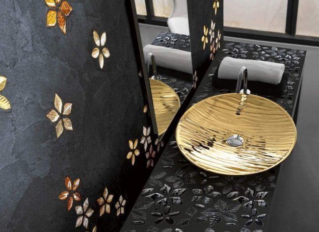 Mosaik Fliesen Badezimmer Gold Schwarz Waschbecken Modern Italien
