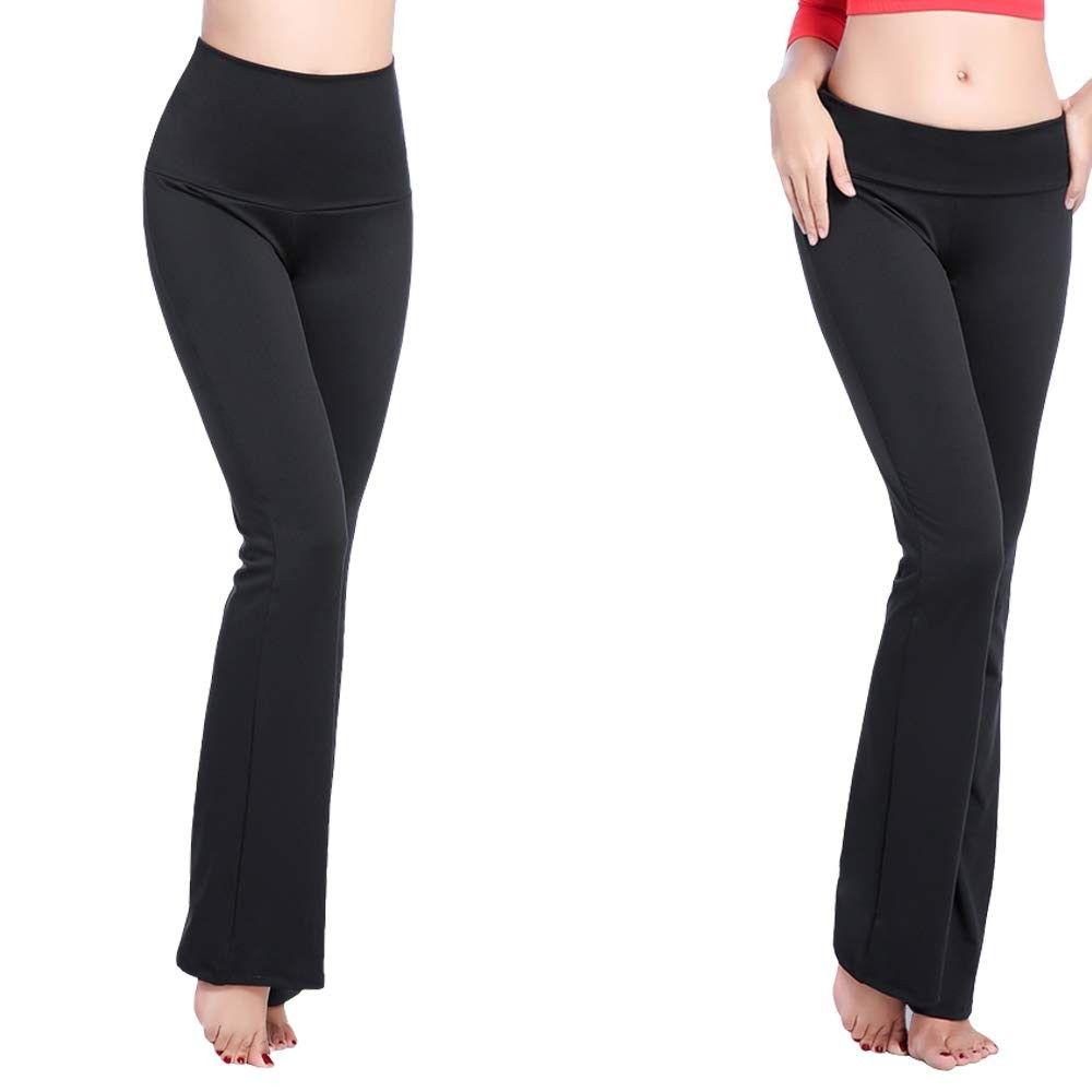 Foldover High Waist Yoga Pants Women's Bootcut Tummy Control Workout Pant - CR18NDMNKLX - Sports & F...