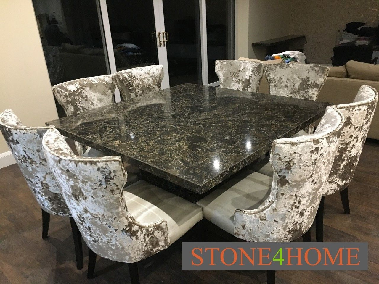Cambria Quartz 1600mm Square Dining Table Complemented By 8 Of