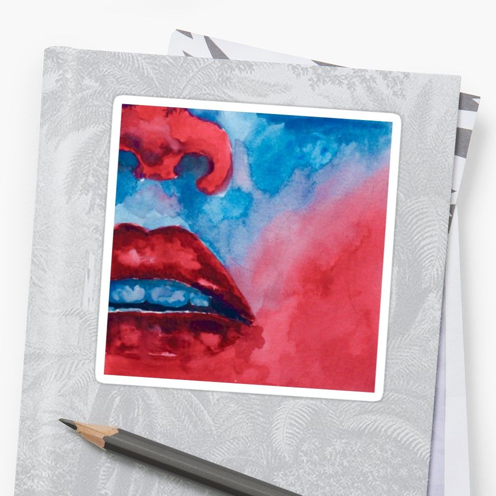 Red And Blue Gel Lighting Watercolor Lips Design Sticker By Lexie