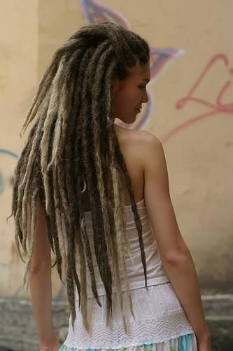 Blonde Naked dreadlocks girl emo