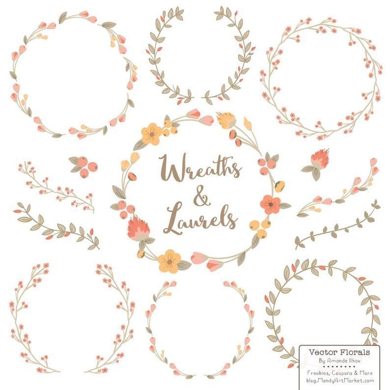 Premium Floral Wreaths & Laurels in Antique Peach  Peach   Etsy