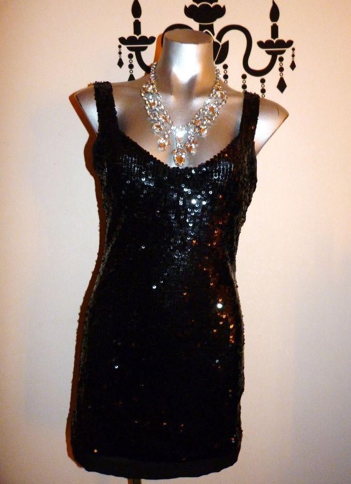 PINK STITCH STUNNING BLACK SEQUIN MINI PARTY DRESS SIZE 12