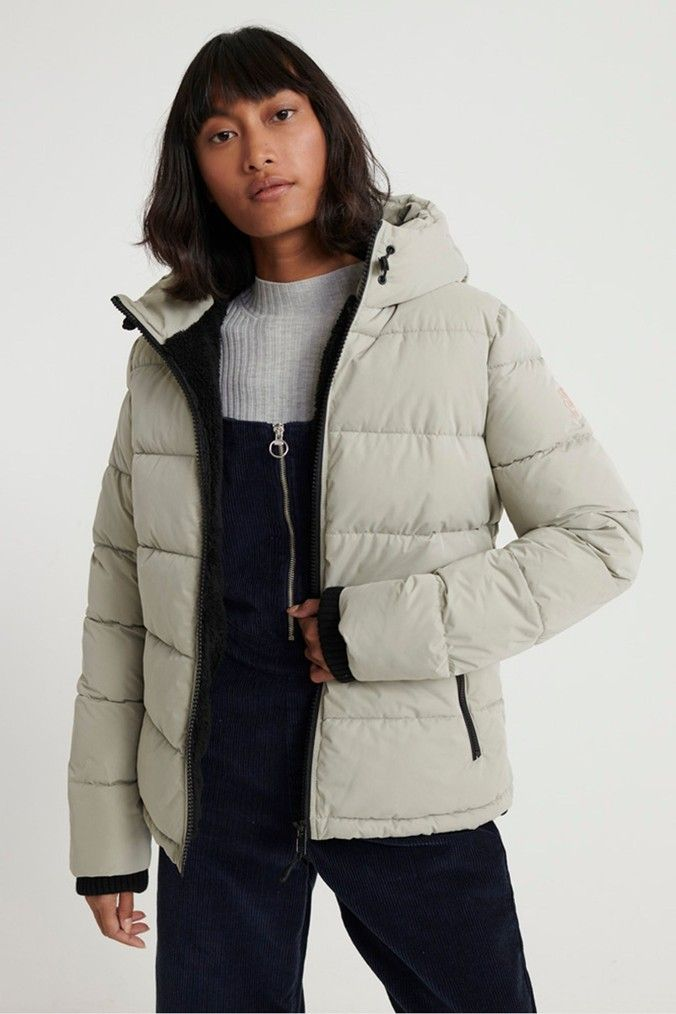 Womens Superdry Akan Microfibre Padded Jacket Grey