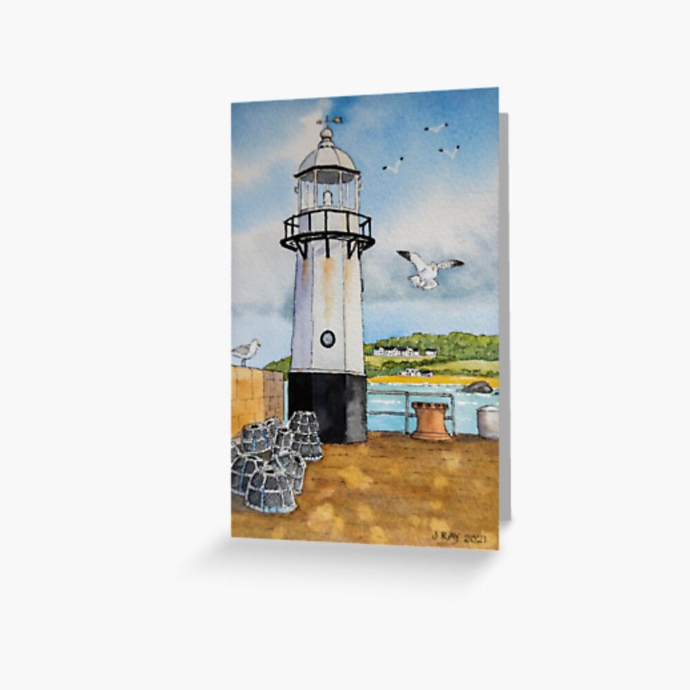 St Ives Lighthouse. Greeting Card by John Ray