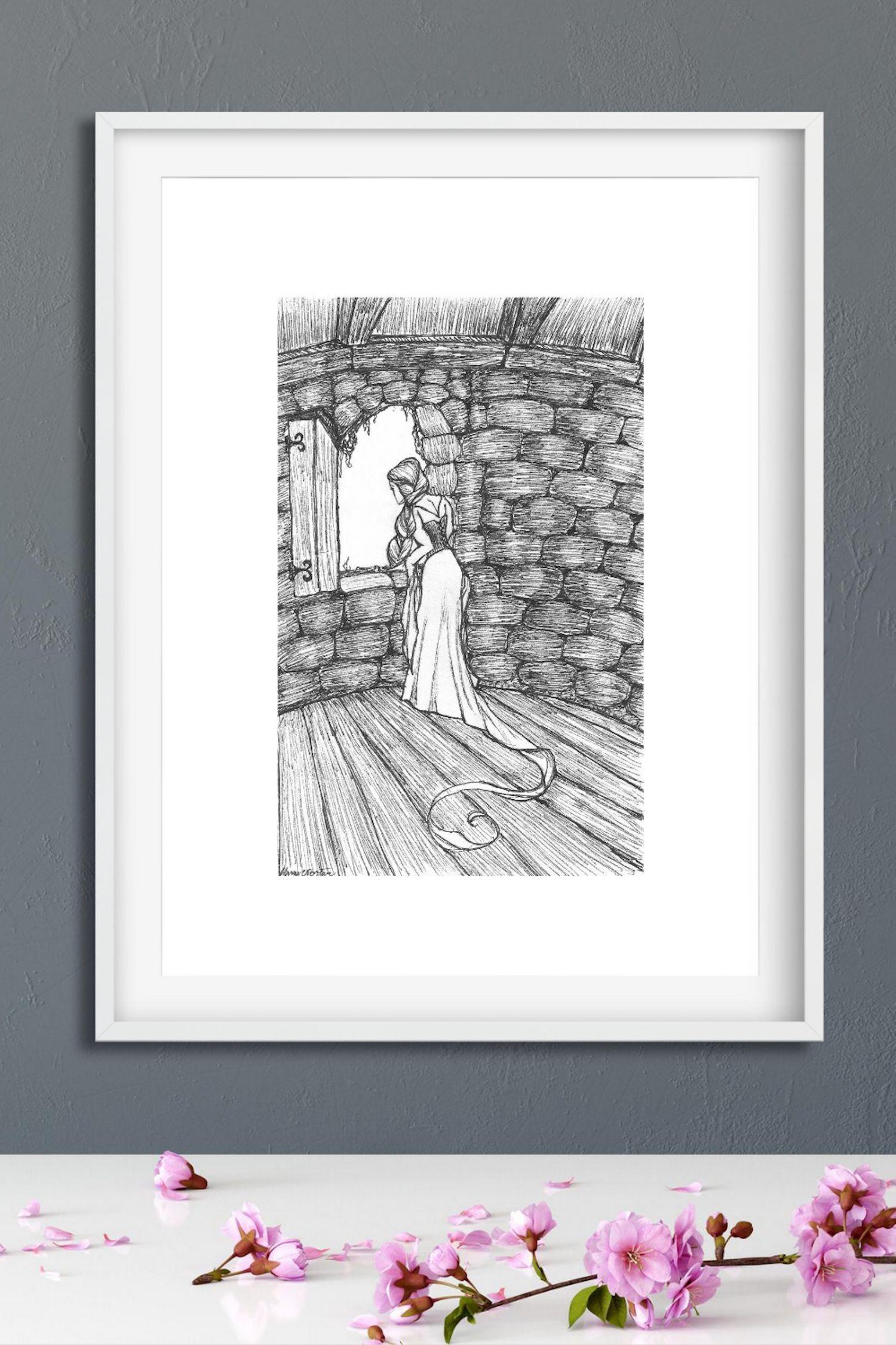Rapunzel Art Print Black and White Fairytale Art Princess Wall Art