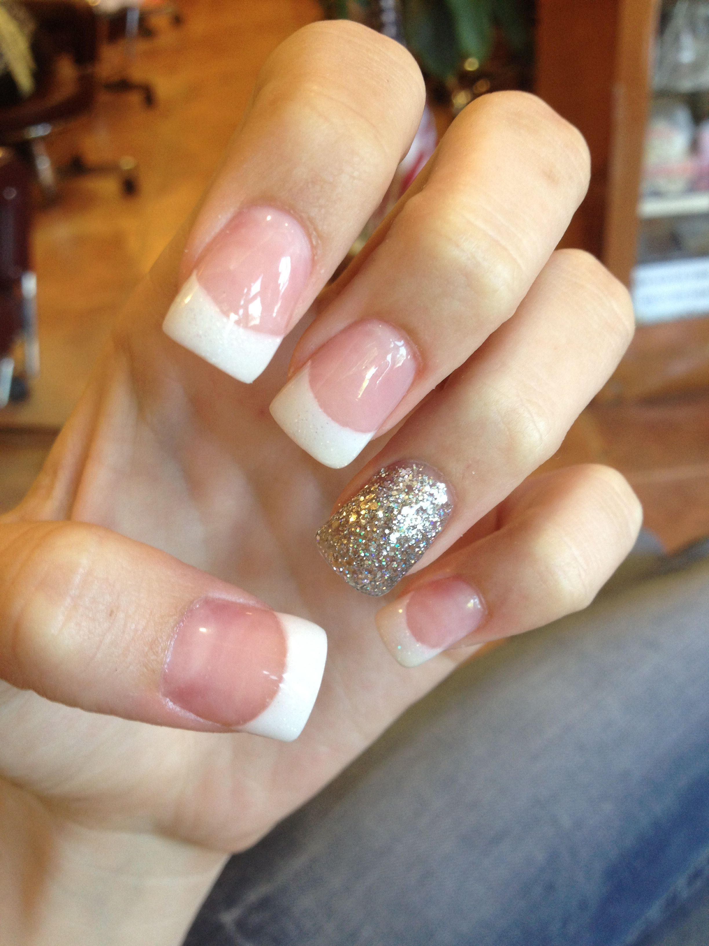 Acrylic nails, French tip, Glitter, Pink and white | MY NAILS ...