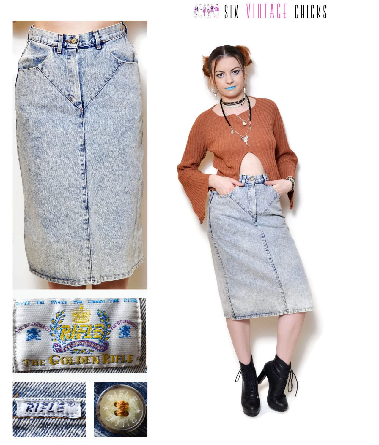 80s jeans acid jean pencil skirt wash denim high waisted skirts ...