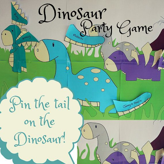 Pin the tail on the dinosaur party game diy instant for Pin the tail on the dinosaur template