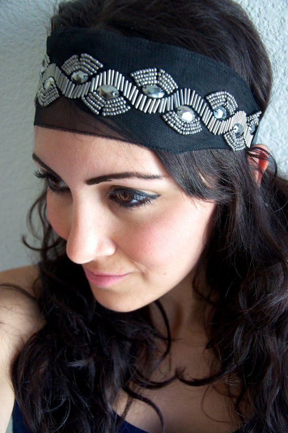 Silver Beaded Black Boho Headband - Stretchy black Bohemian Headband  embellished with Silver Beading 9d7f204a3c0