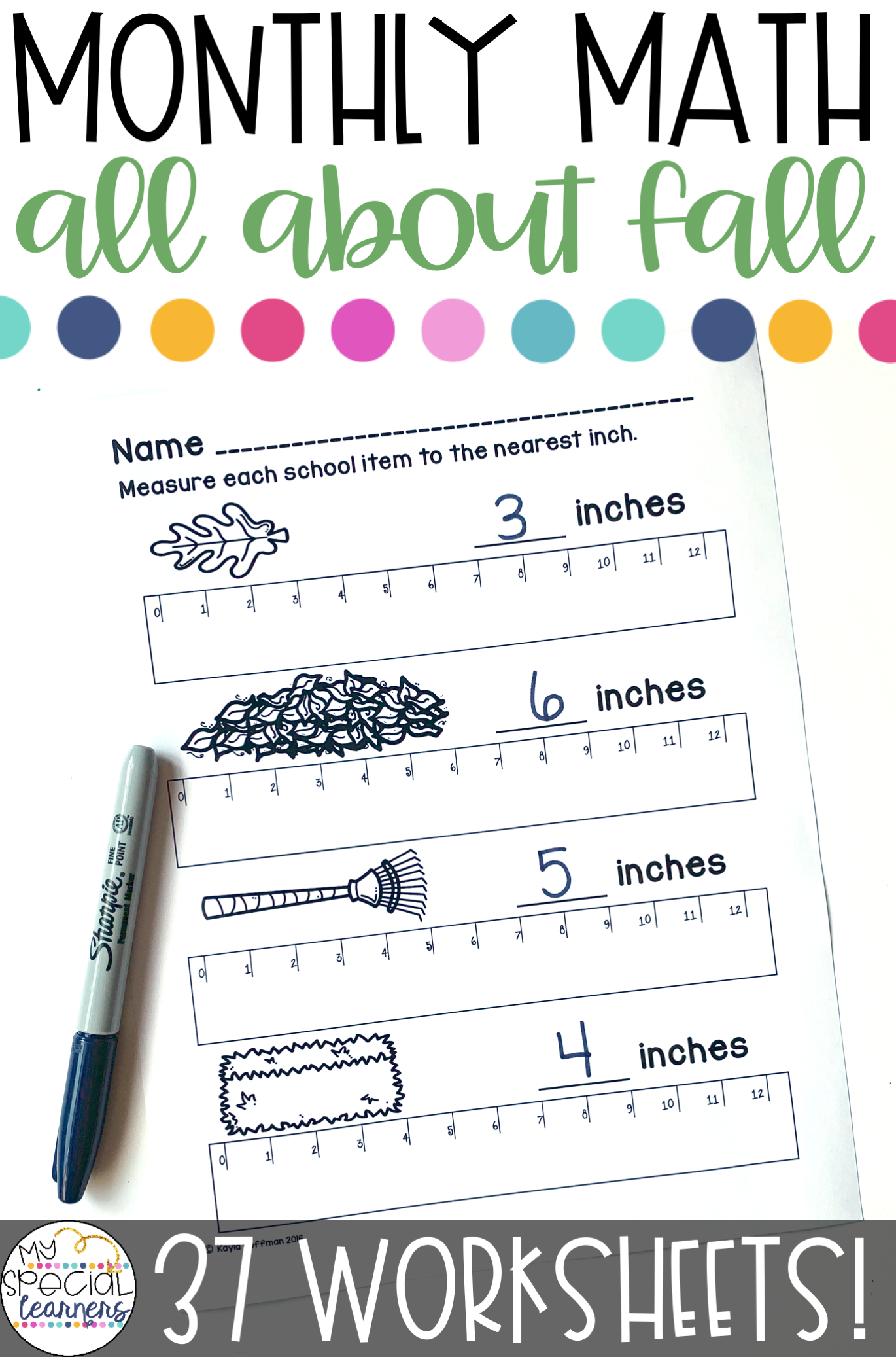 All About Fall Math Printables For Special Education
