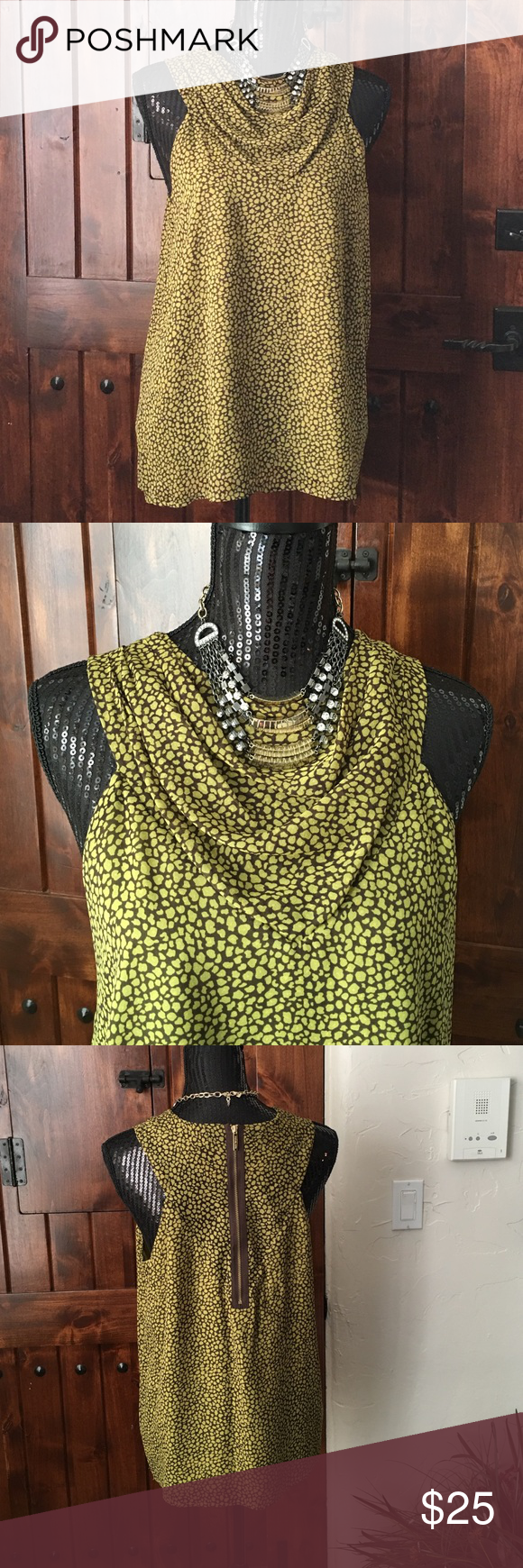 Michael Kors size 10, polyester .  GC $25.00 Michael Kors in great condition, fun shirt looks wonderful with jeans.  Size 10 in 100% polyester.  Great green and brown colors.  $25.00. Michael Kors Tops Camisoles