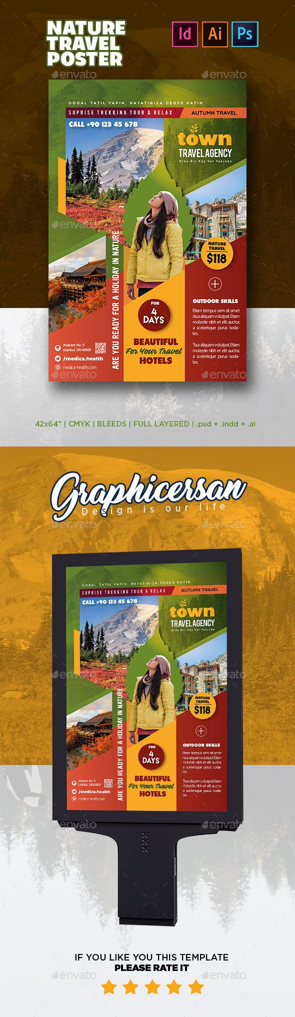 Nature Travel Poster Template PSD, InDesign INDD, AI Illustrator