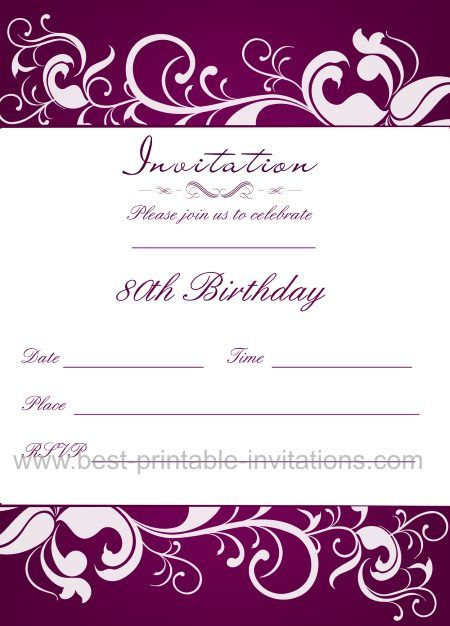 Stunning Purple 80th Birthday Invitation Free Printable Invite From