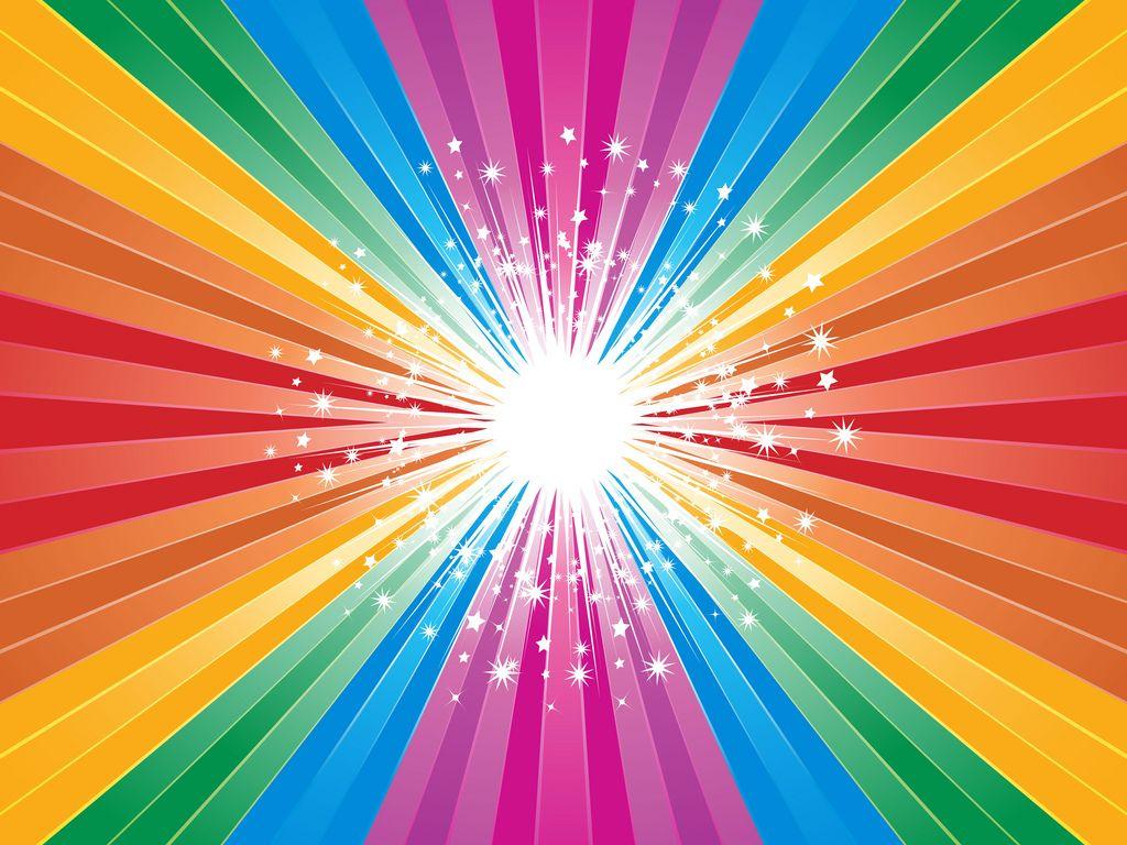 PowerPoint Starry background Colour star, Rainbow