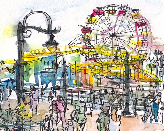 Santa Monica Pier Travel Sketch In Yellow Red And By Sketchaway