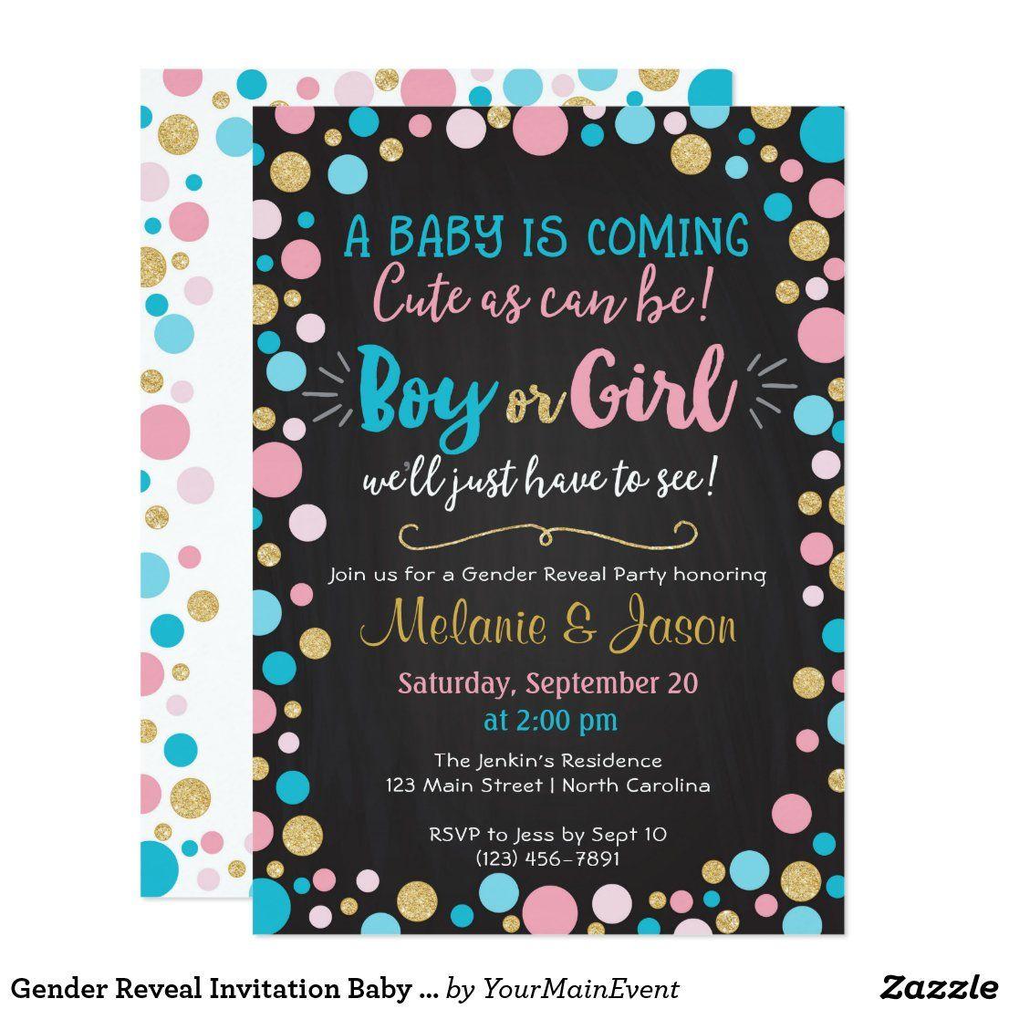 Gender Reveal Invitation Baby Shower Boy Or Girl Zazzle Com Gender Reveal Invitations Gender Reveal Party Invitations Gender Reveal Invitations Template