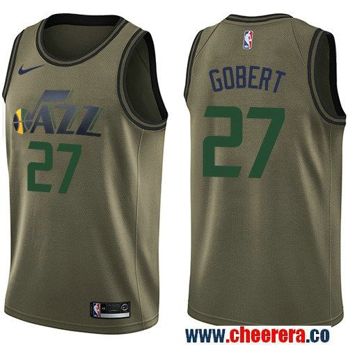 994b7470d3d Men s Nike Utah Jazz  27 Rudy Gobert Green Salute to Service NBA Swingman  Jersey
