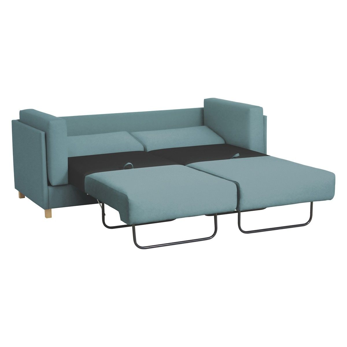 COLOMBO Teal Blue Fabric 3 Seater Sofa Bed