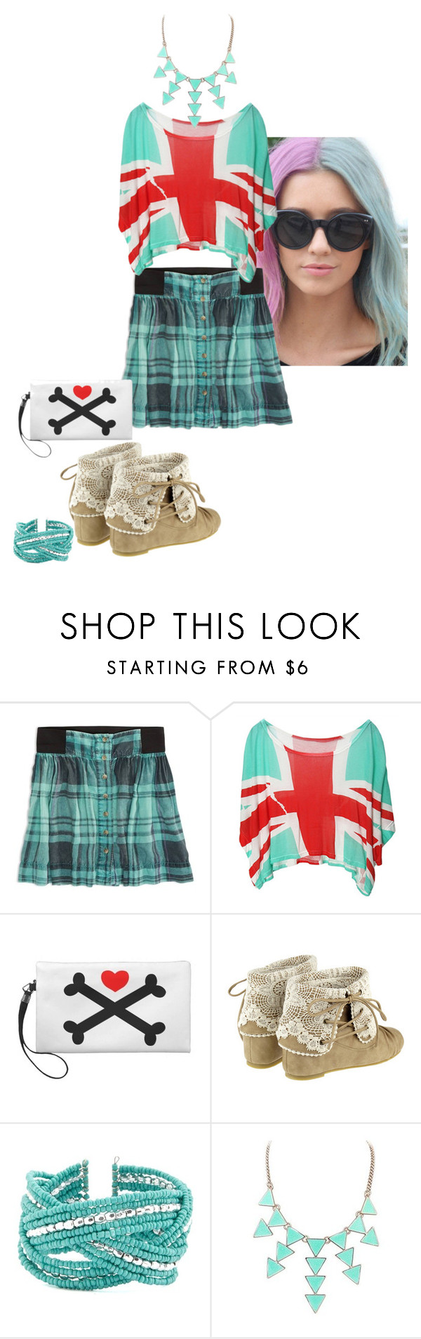"""""""Pink and Blue Etc"""" by prettyroses ❤ liked on Polyvore featuring American Eagle Outfitters, Charlotte Russe, women's clothing, women, female, woman, misses and juniors"""