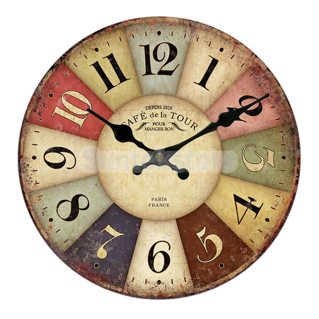 Vintage Wall Clock Shabby Chic Home Kitchen Wooden 30Cm Home Art ...
