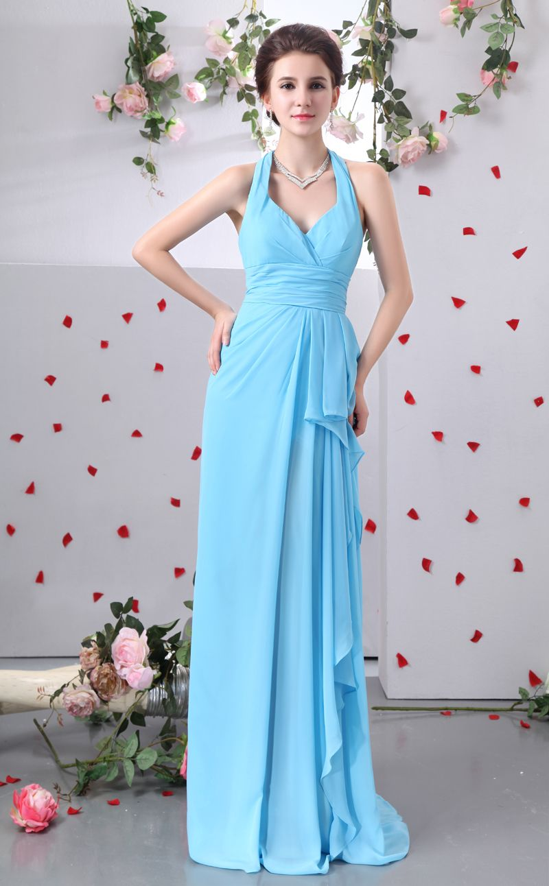 Real picture a line ankle length bridesmaid dress with sleeveless real picture a line ankle length bridesmaid dress with sleeveless halter ruffles prom dress gowns ombrellifo Gallery