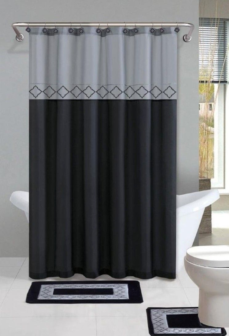 Bathroom Modern Black And White Curtain For Beautiful Bathroom