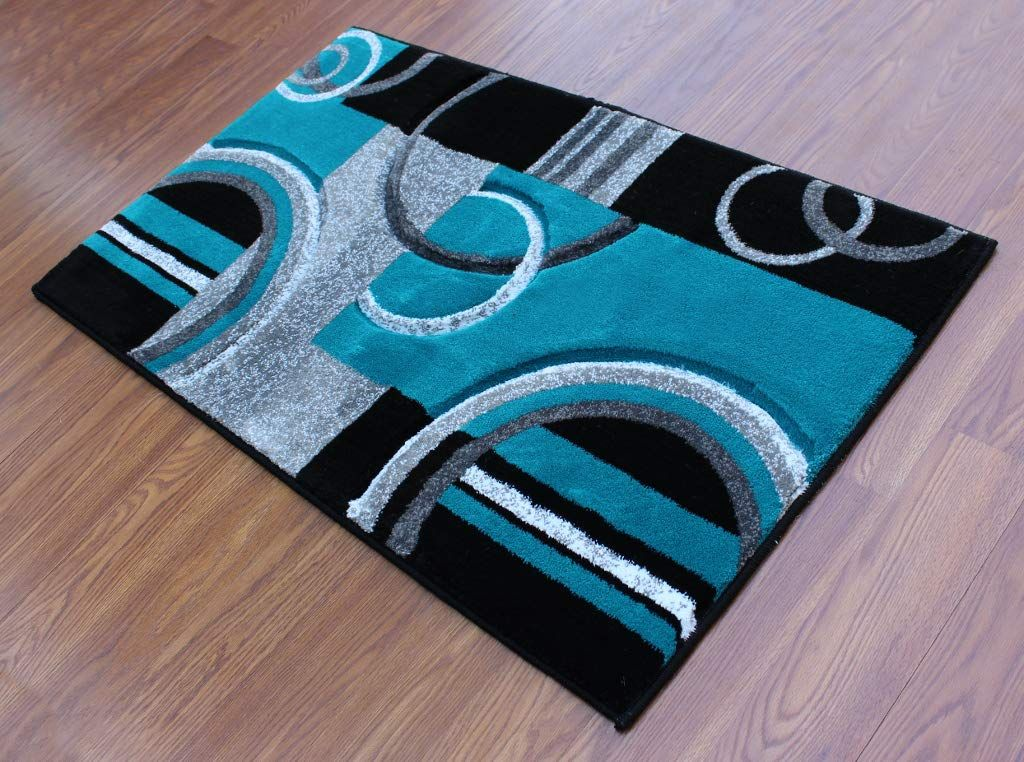 Masada Rugs Sophia Collection Hand Carved Area Rug Modern Contemporary Turquoise Grey Black 2 Feet X 3 Feet 4 In Modern Area Rugs Modern Contemporary Area Rugs