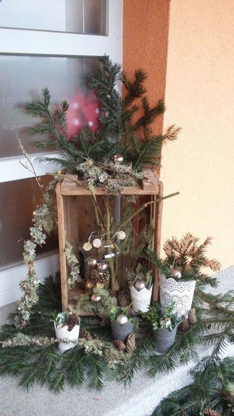 Gebastelte Weihnachtsdeko.Weihnachtsdeko Alte Weinkiste Flechten Christmas